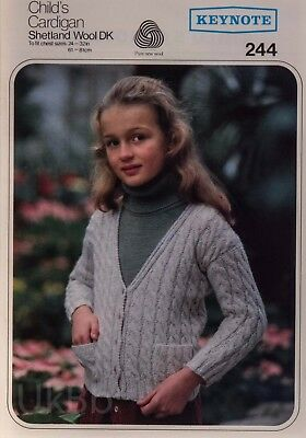 37aee325129dc5 Keynote Knitting Pattern 244 Childs Cable Cardigan Shetland 24-32