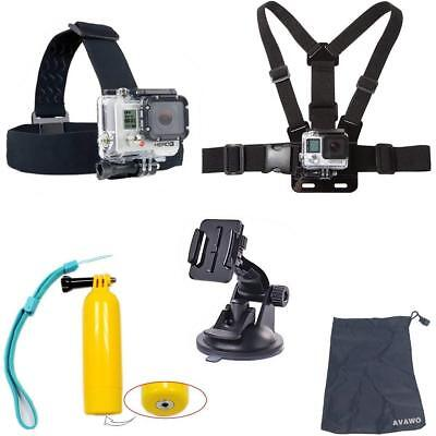 AVAWO 5-in-1 Accessories Kit for Gopro HD Hero 4/3+/3/2/1 Camera, Chest Belt Str