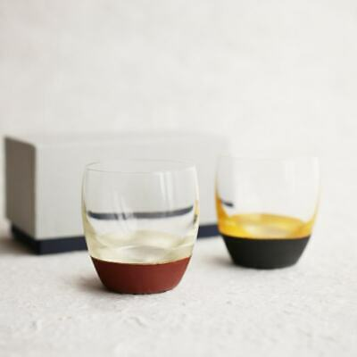 Lacquer sake cup (silver red, gold black pair) with gift box / Toba lacquerie