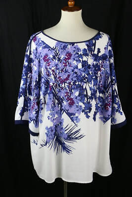 Adrianna Papell White Purple Multi Floral Print Short Sleeve Top 2X