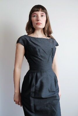 Vintage 1940s 1950s 40s 50s Charcoal Grey Structural Cocktail Dress Xs Small