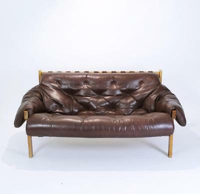 Mid Century Modern Percival Lafer Style Distressed Leather Tufted Sofa 1970s