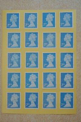 500 Blue Security Unfranked 2nd Second Class Stamps - Peel and Stick - Gummed