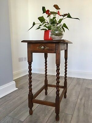Antique Oak Barley Twist Plant Stand, Side Table , Occasional Table With Draw
