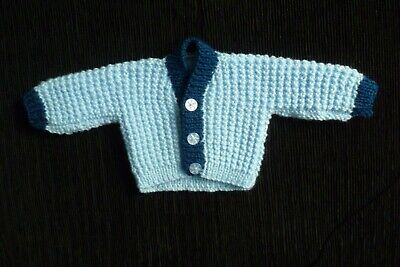 Baby clothes BOY premature/tiny<5lbs/2.3kg blue/navy blue,soft cardigan SEE SHOP