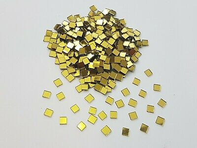 300 pieces, Gold Glass Mirror Tiles, Approx 0.5 x 0.5 cm, 1mm Thick, Art&Craft
