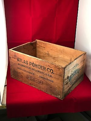 Vintage atlas powder high explosives Wood Crate U.S. Patent Off World Globe