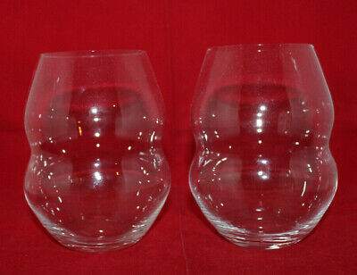 Riedel Swirl Stemless White Red Crystal Wine Glass Set of 2 Edged Signed Clear