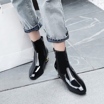 d7129be3766 US 9 Women s Pointed Toe Ankle Boots Patent Leather Chunky Heel Casual Shoes  New