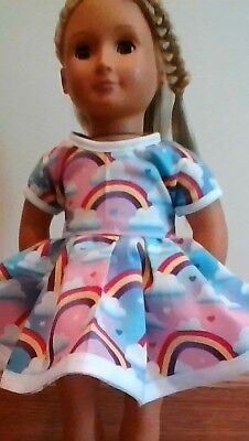 New Generation Doll Clothes Rainbows Hearts Pastel Dress Fits 18 Inch Doll