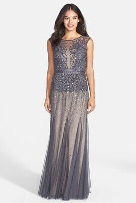 $420 Adrianna Papell Women'S Gray Embellished Chiffon A-Line Gown Dress Size 10