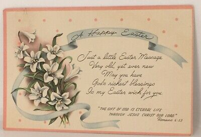 Antique Postcard Easter Posted 1 Cent Stamp No. 544B Blue Ribbon Banner Flowers