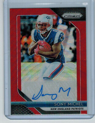 2018 18 Sony Michel Panini Prizm Red Wave Refractor Rookie Auto #ed 163/199