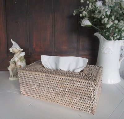 Whitewashed Woven Rattan Cane Tissue Box Cover Holder Rectangular Bath Living