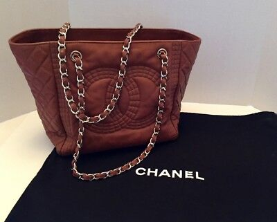 18fbe2a9a3bf Authentic CHANEL Dark Beige Quilted Caviar Leather Grand Shopping Tote Bag