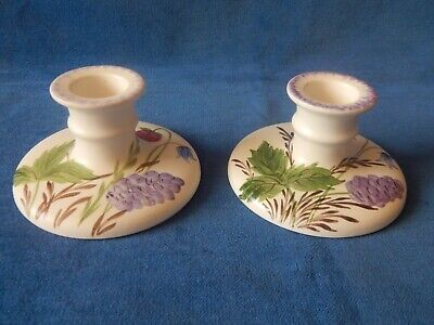 Pair Of Lovely Old Edward Radford Hand Painted Candlesticks / Holders