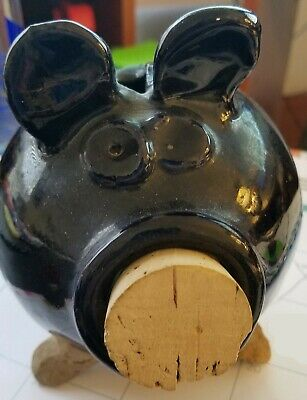 Vintage pottery Piggy Bank Signed SMITH. Beautiful Cobalt Blue w/Cork for Nose