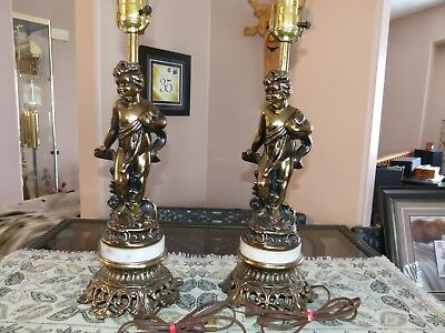 Vintage Pair of Cast and Marble Tri-Lamp Table lamps featuring Cherubs