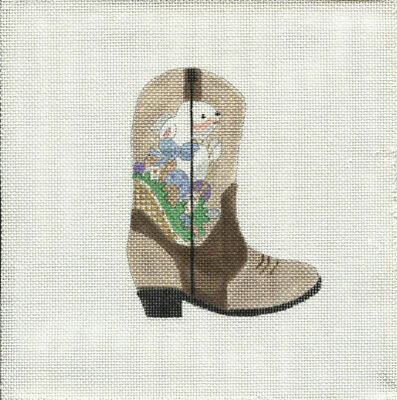 New, CUSTOM DESIGN Hand Painted Needlepoint APRIL COWBOY BOOT