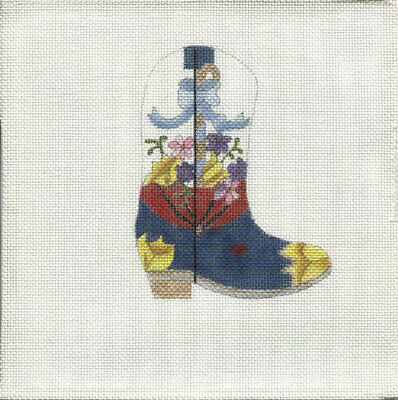 New, CUSTOM DESIGN Hand Painted Needlepoint MAY COWBOY BOOT