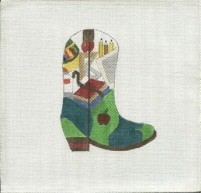 New, CUSTOM DESIGN Hand Painted Needlepoint AUGUST COWBOY BOOT