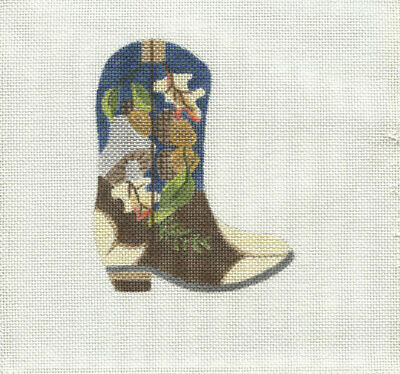 New, CUSTOM DESIGN Hand Painted Needlepoint SEPTEMBER COWBOY BOOT