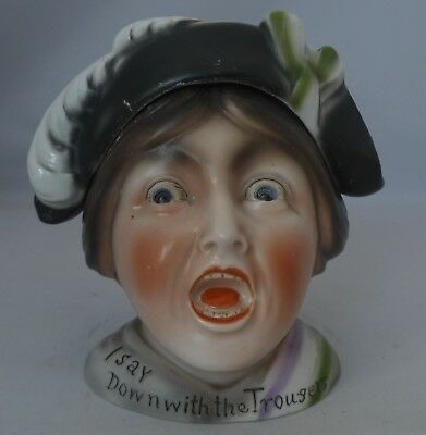 ULTRA RARE ANTIQUE SUFFRAGETTE TOBACCO JAR EARLY 20th CENTURY