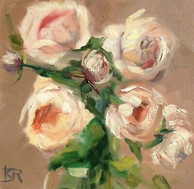 "K.D. RYAN  Original Signed Painting Still Life IMPRESSIONISM ROSES NEW 6"" X 6"""