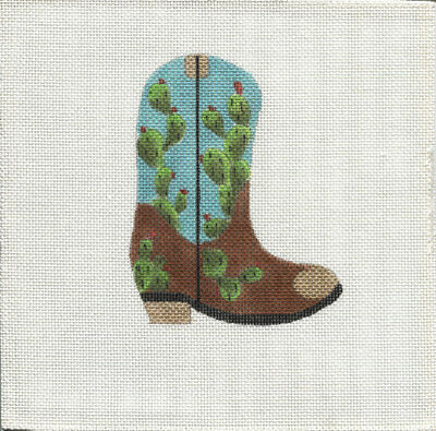 New, CUSTOM DESIGN Hand Painted Needlepoint CACTUS COWBOY BOOT