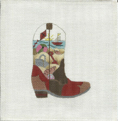 New, CUSTOM DESIGN Hand Painted Needlepoint JUNE COWBOY BOOT