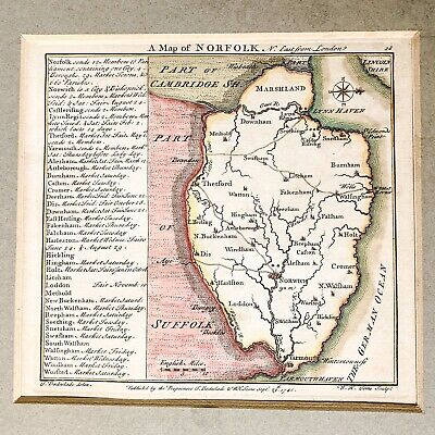 Antique Original W. H. Toms And  T. Badeslade Engraving, Map of Norfolk, 1741