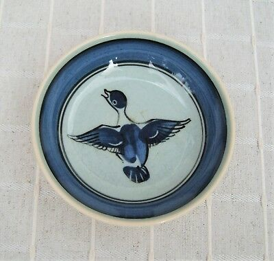 Vintage Holkham pottery blue duck pin dish