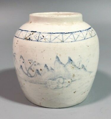 Small Chinese porcelain vase jar late Qing Chinese Republic mountain river