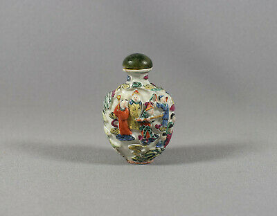 Chinese Moulded Porcelain Famille Rose 'legend Of The White Snake' Snuff Bottle