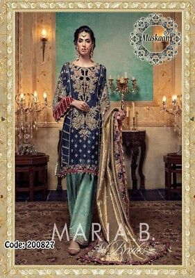 Maria B Pakistani Designer Shalwar Suit Chiffon Bridal Collection. Unstitched