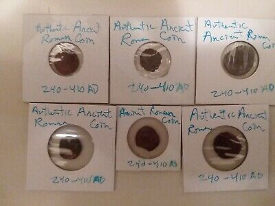 Lot of 6 Authentic Ancient Roman Coins from 240 - 410 AD. Rare Roman Coins