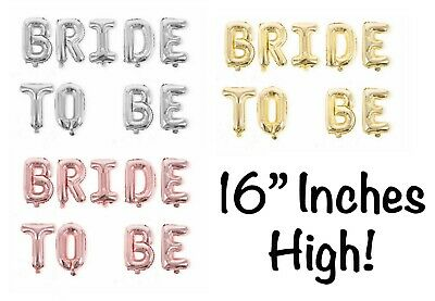 """16"""" Bride To Be Rose Gold Foil Balloons Hens Party Bridal Shower Silver Letter"""