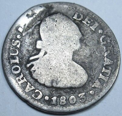 1803 Spanish Silver 1/2 Reales Piece of 8 Real Colonial US Pirate Treasure Coin