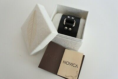 Black Leather Wristband - NOVICA by Tanyasit - Hand Made In Thailand