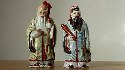 Vintage Sanxing Deities, 2 Figurines, Lu, Shou, Porclain Star God Figurines
