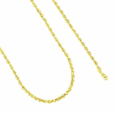10K Yellow Gold Unisex 4mm Light Diamond Cut Rope Chain Pendant Necklace 22""