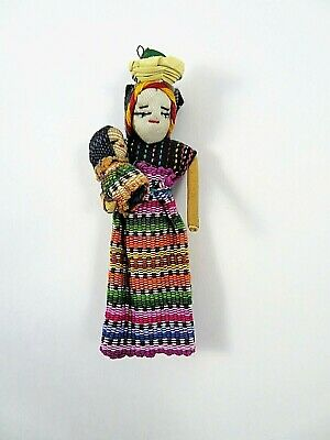 Guatemalan Woman With Baby Hand Woven Doll Ornament Magnet 4 1/2 Inches Tall