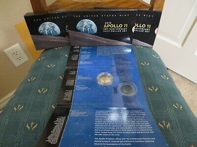 2019 S Apollo 11 50Th Anniversary Proof Curved Half Dollar Plus Error Packaging