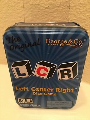 "Dice Game For Family ""lcr - Left Center Right"" Blue Tin Nib George And Co."
