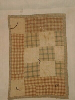 AAFA PRIMITIVE Doll Quilt Blue And Brown Homespun