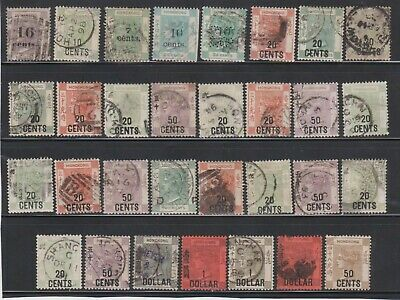 Hong Kong, Victoria Mixed Surcharged F-Vg Condition Unchecked 31 Stamps Backscan