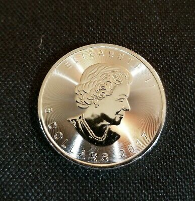 One 2017 1 Oz .9999 Fine Silver $5 Canadian Maple Leaf Coin In Airtight Capsule