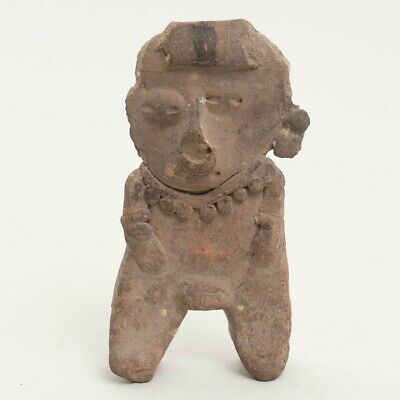 Pre-Columbian Mayan Flat Clay Pottery Human Figure Effigy Artifact 5.5""