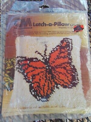 "Vintage Monarch Butterfly Latch Hook Rug Canvas 16"" x 16"" Columbia Minerva New"