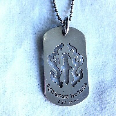 2ddad3bfbe95 Chrome Hearts Sterling Silver Dagger Dog Tag Pendant Necklace 100% Authentic